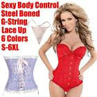 6 colors Sexy Lady Corset Lace Up Boned Bustier Slimming Body Waist Cincher 6XL