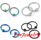 10pcs 16G Stainless Steel Nose Ring Ear Cartilage Hoop Ball Stud Body Piercing