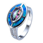 Marquise Rainbow Topaz Band Blue Opal Wedding Ring 10KT White Gold Filled Sz6-10