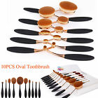 10pcs Pruff Makeup Brush Concealer Foundation Powder Cosmetic Oval Toothbrush