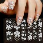 12Tips/Sheet Vinyls White Lace Nail Art Manicure Stencil Sticker Stamping s1