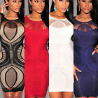 Women Lace Patchwork Nude Illusion Long Sleeve Slim Bodycon Dress Newly Popular