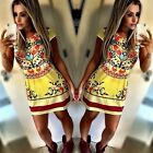 Fashion Women Floral Casual Short Sleeve Prints Cocktail Party Evening Dress