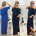 Womens Summer Short Sleeve Loose Long Maxi BOHO Evening Party Dress With Pocket