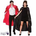 Adults Mens Ladies Deluxe Satin Cape Collared Halloween Fancy Dress Costume Vamp
