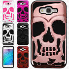 For Samsung Galaxy J7 SKULL Hard Hybrid Dual Layer Soft Rubber Case Phone Cover