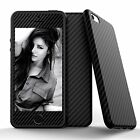 Hybrid Carbon Fiber Rubber Leather Case+Tempered Glass Cover for iPhone 5s/6/6s