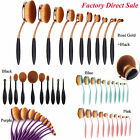10Pcs Oval Cream Puff Cosmetic Toothbrush Shaped Power Makeup Brushes Foundation