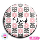 Personalised FLOWER Compact/Handbag Pocket Mirror (58mm) Gift / Wedding Favour