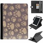 U-DOG09 PAWPRINT UNIVERSAL PROTECTIVE TABLET LEATHER FLIP WALLET 360 SWIVEL CASE