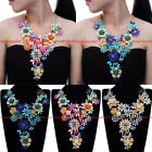 Fashion Gold Chain Resin Crystal Flower Collar Statement Pendant Bib Necklace