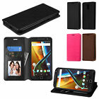 Motorola Moto G 4th Gen. Wallet Case Pouch Flap STAND Case Cover + Screen Guard