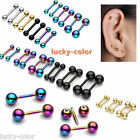 2x 16G Steel Ear Cartilage Nose Lip Nipple Barbell Tongue Ring Piercing Gift Hot