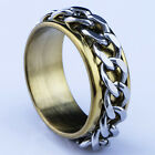 2016 New 316L Stainless Steel Gold Chain Mens Spin Rings Fashion Men's Jewelry
