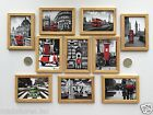 ONE DOLLS HOUSE MINIATURE POSTER STYLE PICTURE Choice of LONDON SCENE Wood Frame