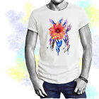 Red Dahlia Flower Watercolor Art T-shirt Youth - Adult