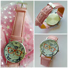 Cat pink Wrist watch for teenager women fun cat wearing glasses Choice of Pouch