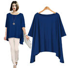 Women Short Sleeve T shirts Blue Tops Casual Round Neck Blouse T-Shirt Charm