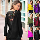 Women's Ladies Long Sleeved Chiffon Casual Loose Shirt Embroidered Tops V-Neck