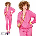 Ladies Retro Pink Shell Suit Tracksuit 80s 1980s Hen Fancy Dress Costume Outfit