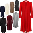 NEW WOMENS LONG SLEEVE COLLARED MAXI LONG OPEN CARDIGAN PLUS SIZE 16-22