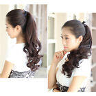 Women Natural Drawstring Ponytail Clip In Hair Extension Waves Curly Hair Piece