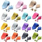 Solid Mens Tie Set Wedding Groom Party Dress Necktie Hanky Cufflinks DJNS