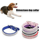 Adjustable Rhinestone Crystal Bling Diamante PU Leather Dog Cat Pet Puppy Collar