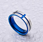 6MM Silver Titanium Steel Blue Cross Ring Men's Stainless Wedding Band Size 6-11