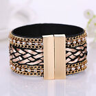 Women  Jewelry Bohemian Rhinestone Magnetic Buckle Bracelet Wide Bangle Sassy