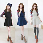 Women Lady Crew Neck Casual Plaid Long Sleeve Splicing Tunic Skater Mini Dress