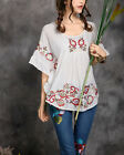Women's Round Neck Floral Embroidery Cotton T-shirt Shirts Blouse Top G CA