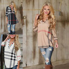 Women Lady Loose Long Sleeve Casual V-neck Blouse Plaid T-Shirt Tops New Cool