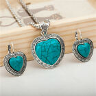 New Women Lady Bib Turquoise Necklace Hoop Earrings Bracelet Jewelry Set
