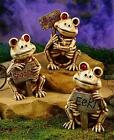 CREEPY SKELETON FROG STATUE MISSING EYE AND SIGN INDOOR OUTDOOR HALLOWEEN DECOR