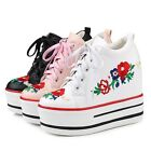 Women's Embroidery Ankle Boots Fashion Sneakers Casual Lace Up Platform Shoes