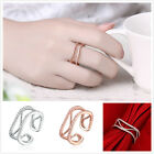 5pcs Fashion Zircon Hollow Geometry Design Women's Rings Opening Size 5-7 D