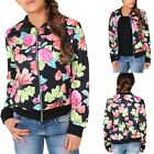 Women Ladies Biker Coat Collarless Flower Floral Print Bomber Ponchos Jacket New