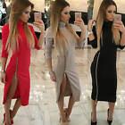 Women's Polo Neck Split Zip Dress Long Sleeve Party Cocktail Bodycon Midi Dress