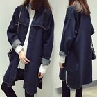 Women's Denim Outwear Jacket Windbreaker Long Trench Coat Deckle Edge Vintage