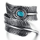 Mens Stainless Steel Ring, Biker, Silver, Feather, KR2359