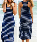 Women Ladies Summer Sleeveless Dress O-neck Long Maxi Cotton Beach Sundress Vest