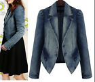plus size Autumn Women top Long Sleeve Blue Denim Coat Slim Fit Jeans Jacket hot