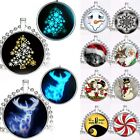 Hot Lots Xmas Tree Snowman Snowflake Glow In Dark Glass Pendant Necklace Jewelry
