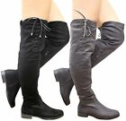 New Ladies Womens Over The Knee Thigh High Lace Up Tie Low Heel Boots Shoes Size