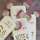 Samsung Galaxy S6/7/Edge Note 4/5  - PINK DIAMOND MINNIE MOUSE EAR Rubber Case