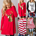 Women Christmas Elk Long Sleeve Blouse Shirt Casual Loose Sweatshirt T-Shirt Top