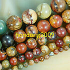 "6/8/10/12/14mm Natural Picasso Jasper Round Loose Beads 15"" Choose Size##KH053"