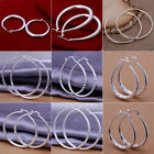 Women Ladies 925 Sterling Silver Hoop Earrings Large Hooped Sleeper