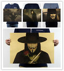 V for Vendetta Mask Movie Poster Vintage Kraft Paper Bar Room Decor A3 Poster 60